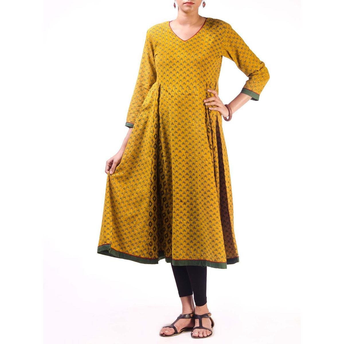 Yellow Ajrak Anarkali Kurta with Side Panels