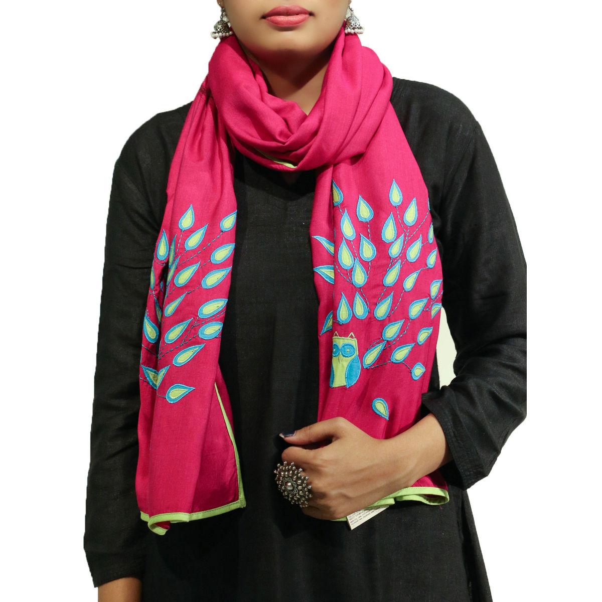 Pink color applique bird motif cotton silk stole
