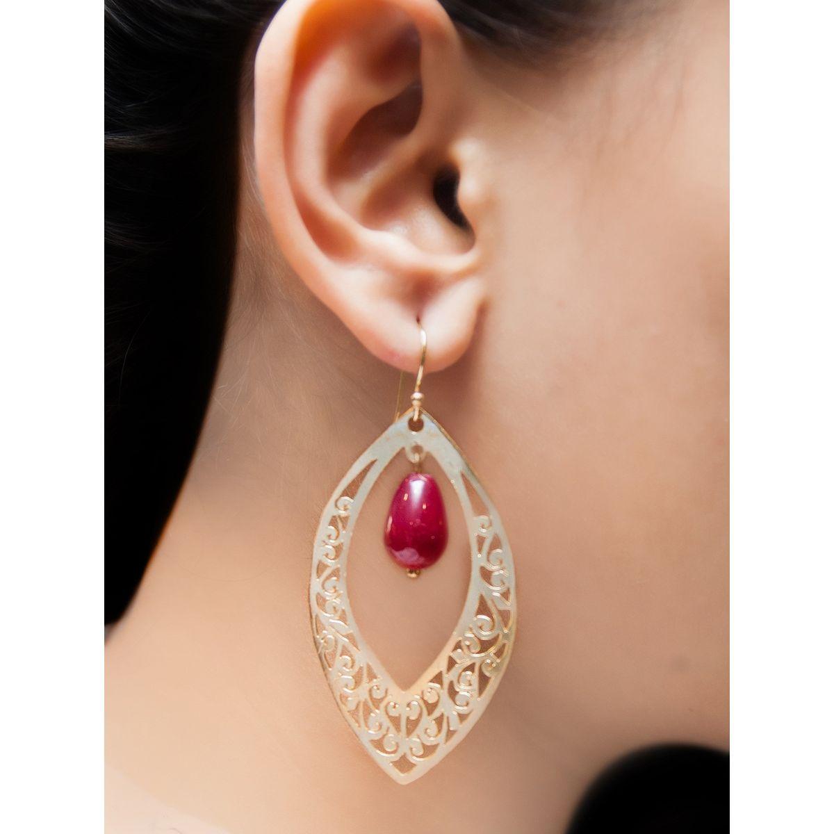 Maroon waxing moon earrings