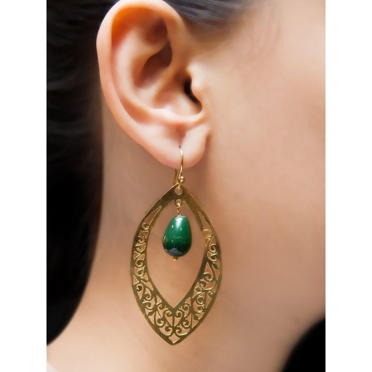 Green waxing moon earrings