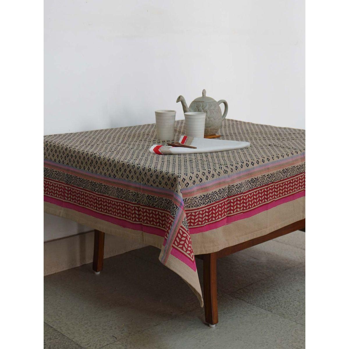 Grey Cotton Handblock Printed Table Cloth