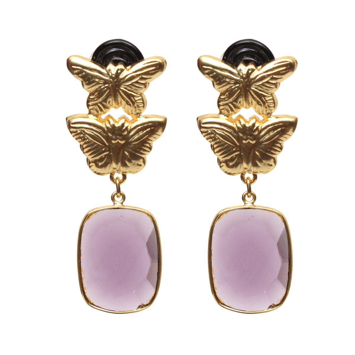 Lilac earth earrings