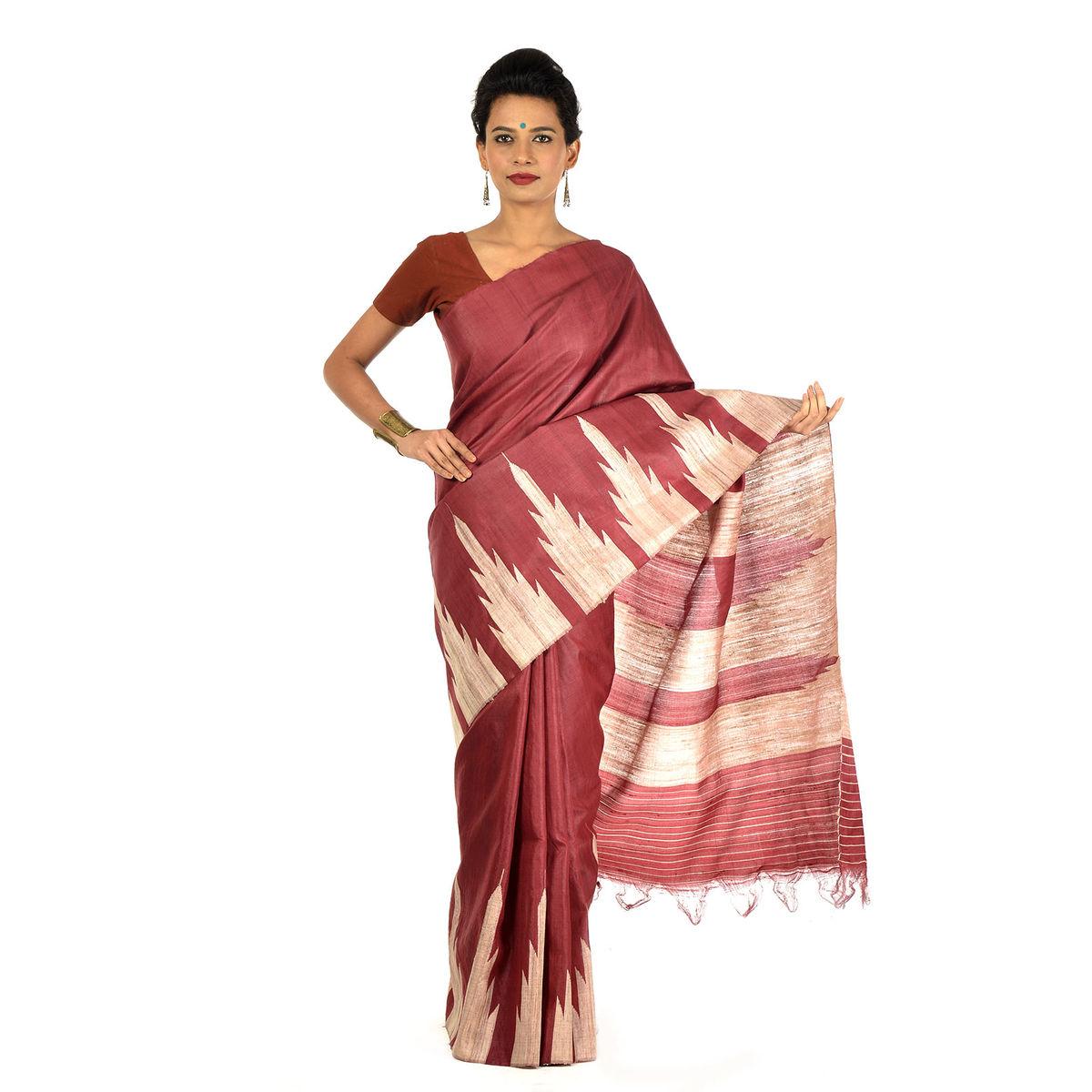 Nilalohita Tussar Silk Saree