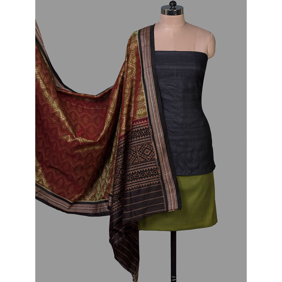 35f931bc5e Maroon Tussar Silk Unstiched Dress Material With Ikat Silk Dupatta ...