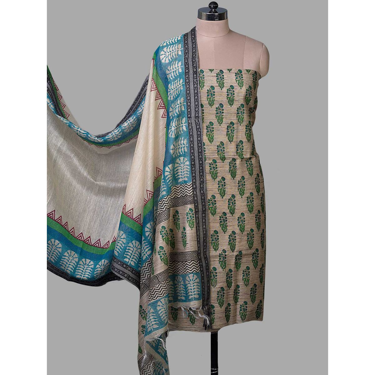 06f3c6c627 Home · Beige Tussar Silk with Block Print Unstiched Dress Material · Zoom.  sold-out-image