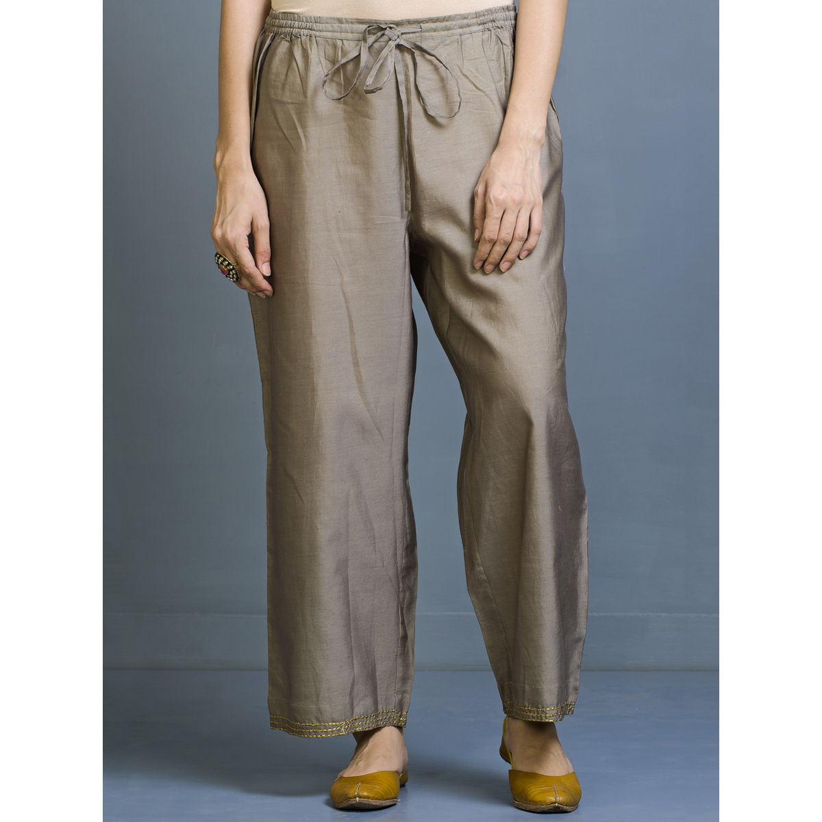 Naqis Chanderi Straight Fit Trousers