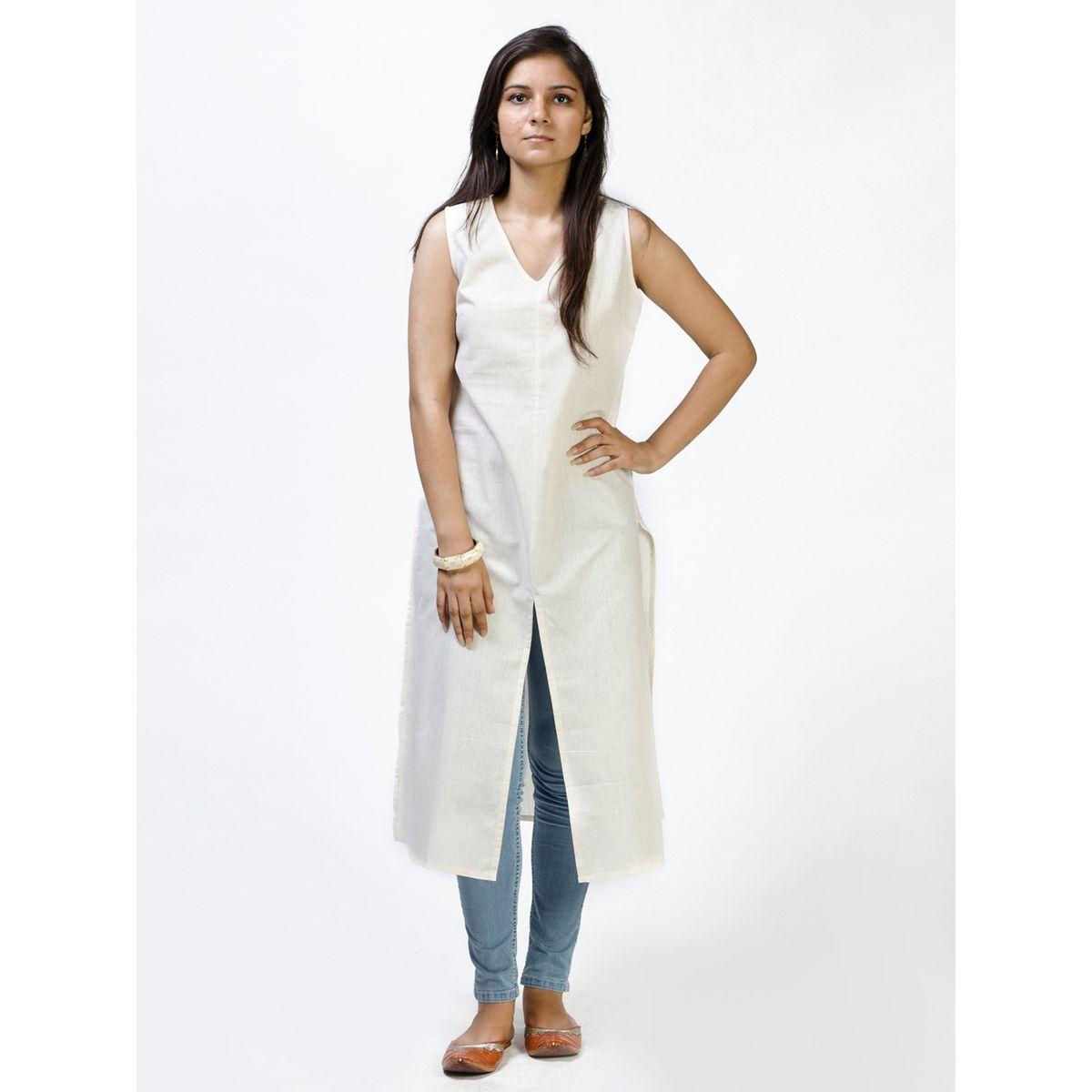 White centre slit cotton kurta