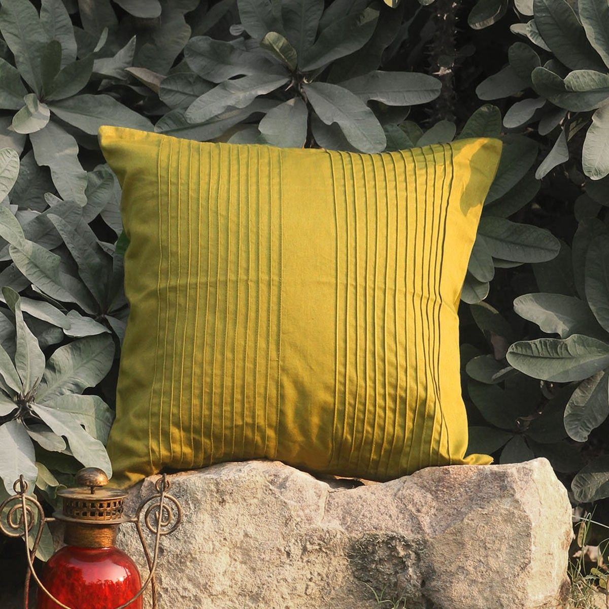 Khaki Pintuck Accent cushion