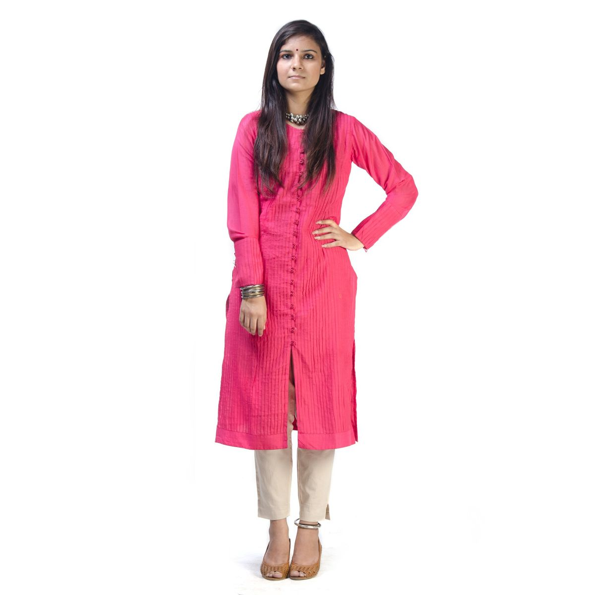 Watermelon Pink Pintuck Tunic