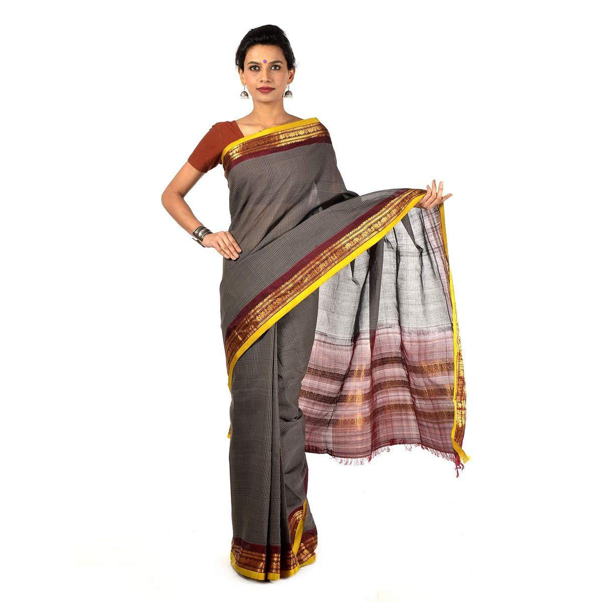 Gray Gadwal Cotton saree