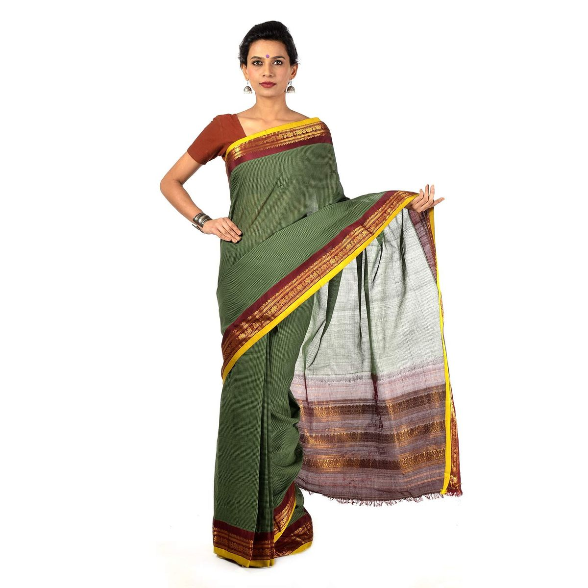 Military Green Gadwal Cotton saree