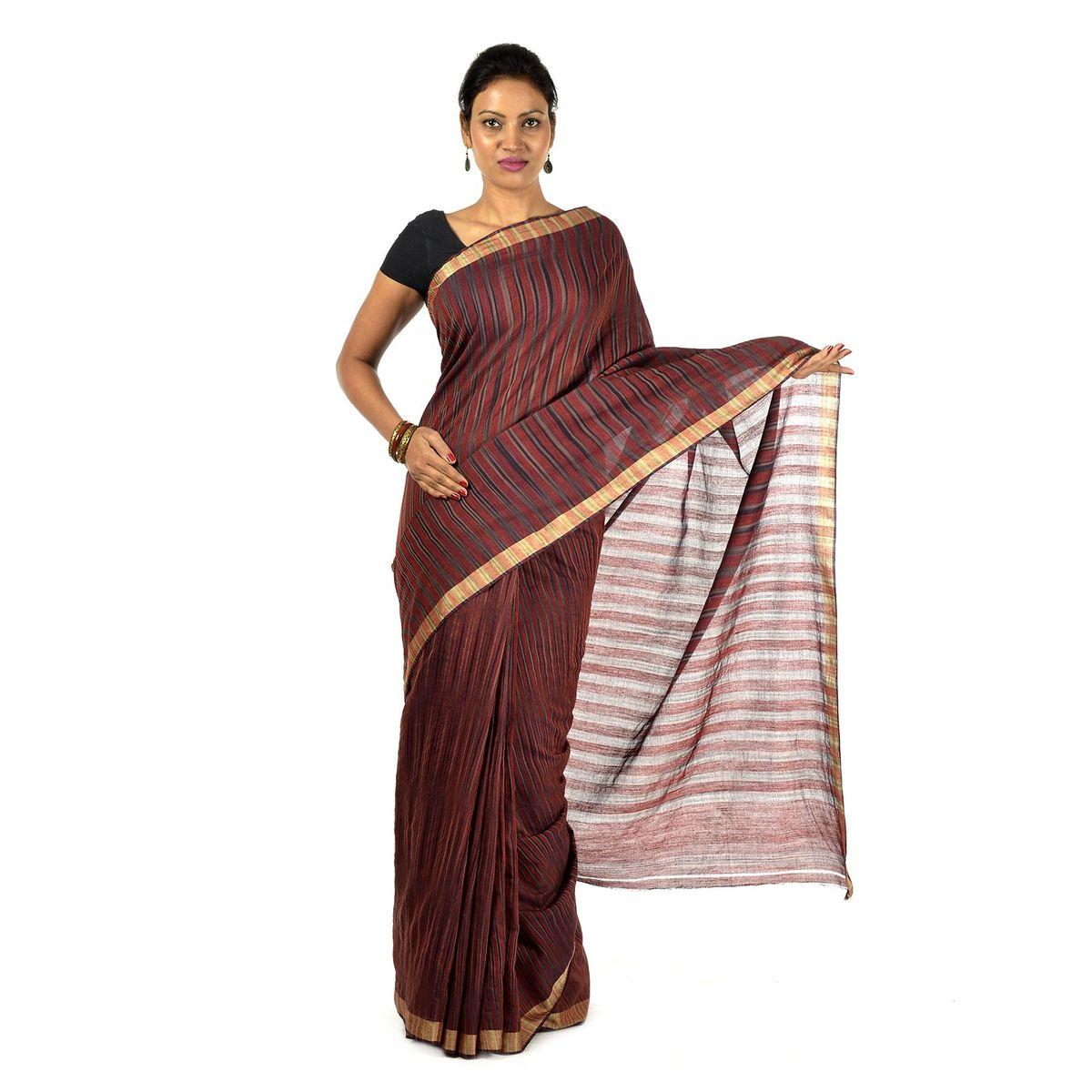 Crimson Muga cotton saree