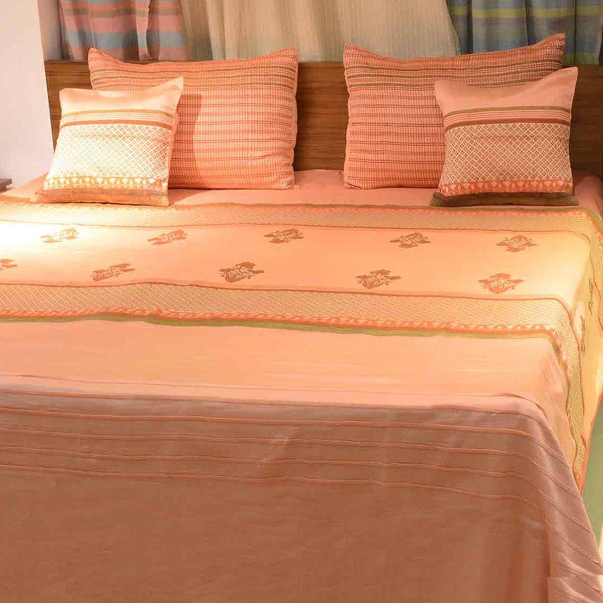 Orange Block Printed Chanderi Bedcover Set