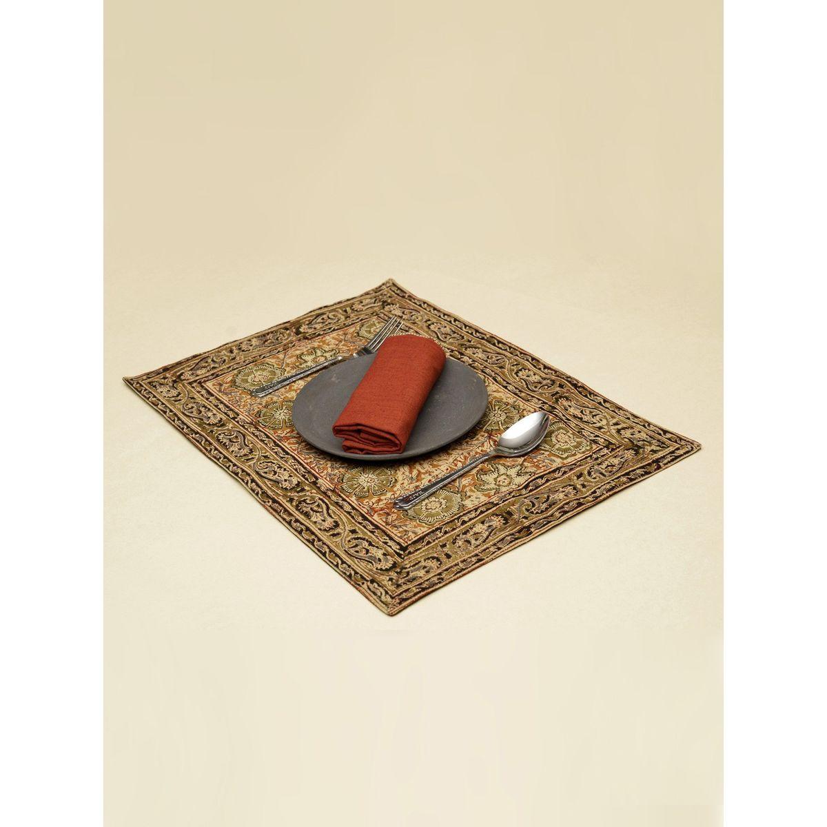 Dereila Rosa Kalamkari Table Mat