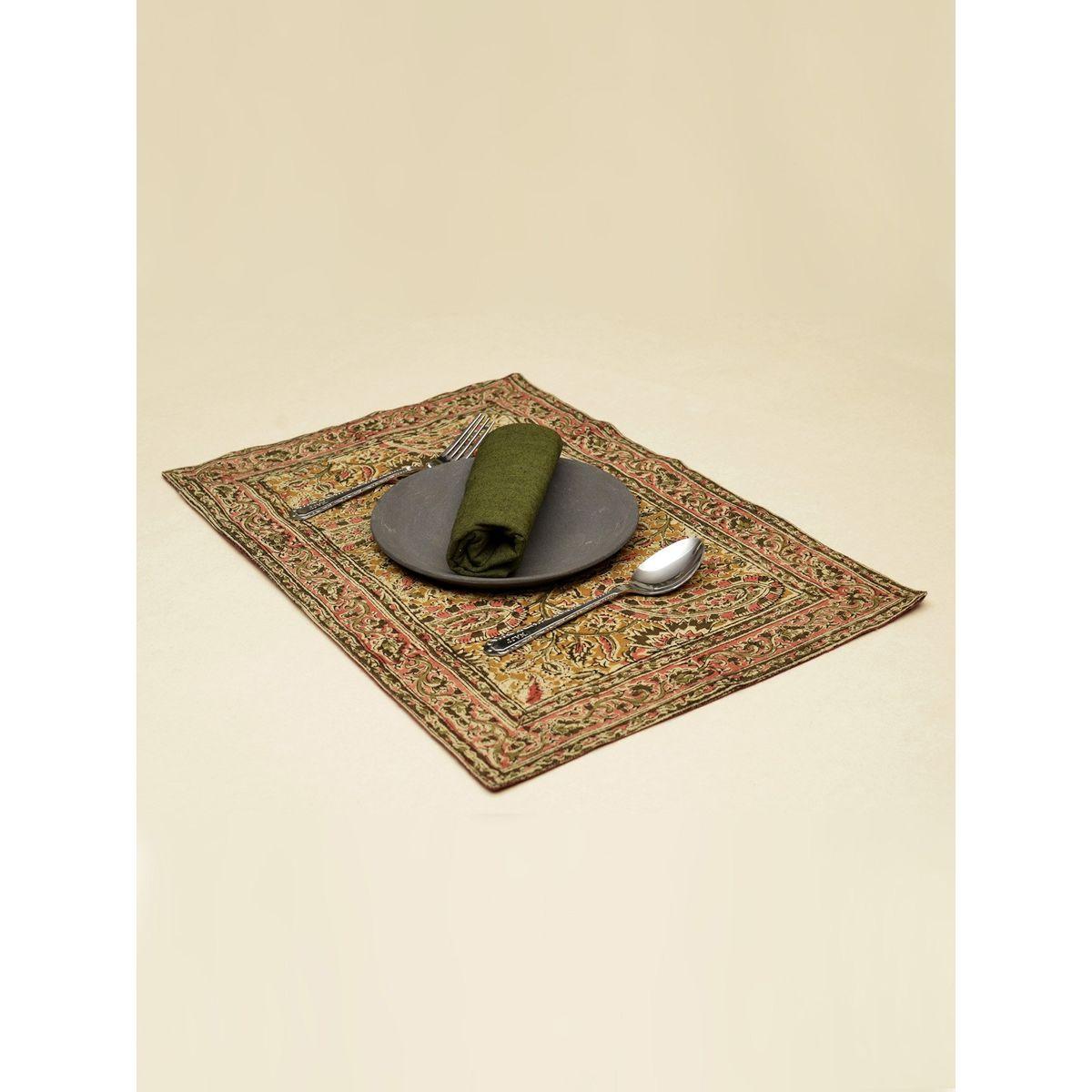 Cerise Paisley Kalamkari Table Mat