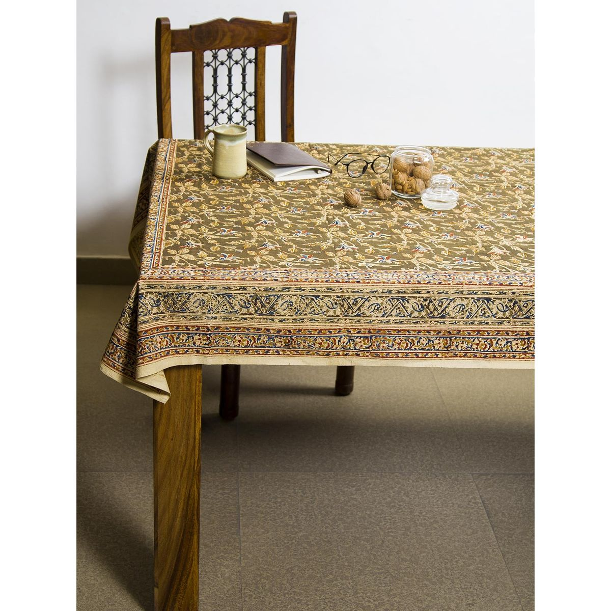 Spice Shriptah Kalamkari 6 seater table cover