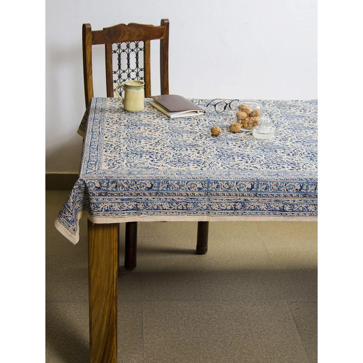 Cerulean Amra Kalamkari 6 seater table cover