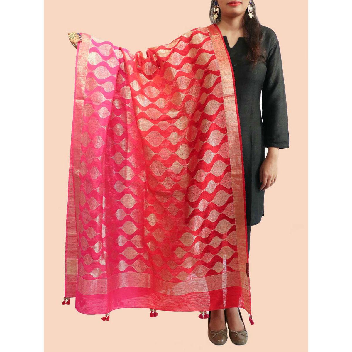 Buy Magenta Red Banarasi Silk Dupatta Online