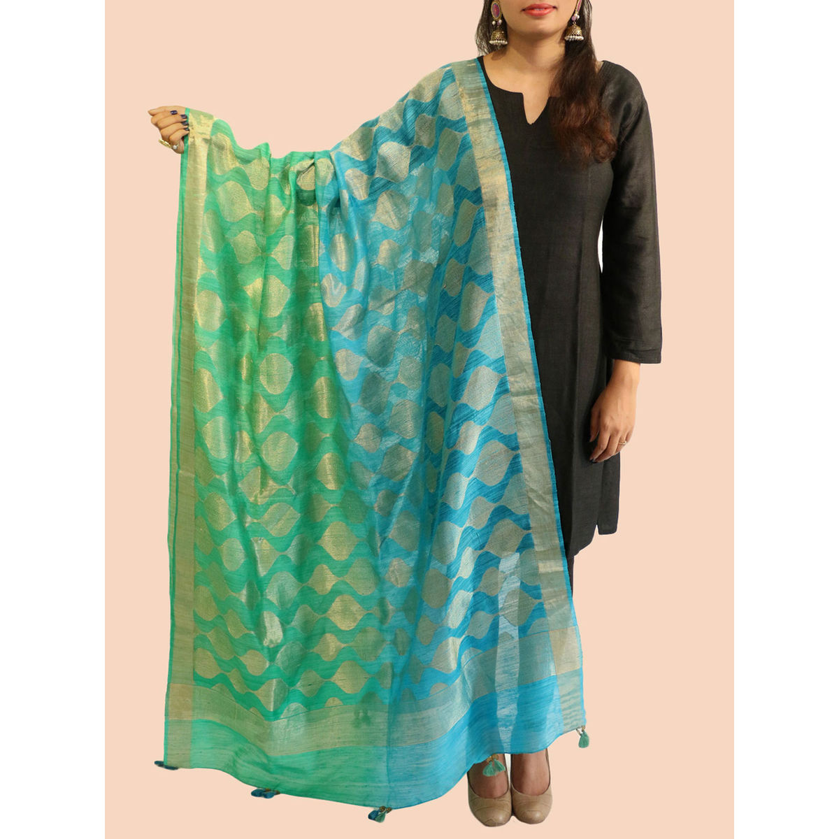 Buy Turquoise Green Banarasi Silk Dupatta Online