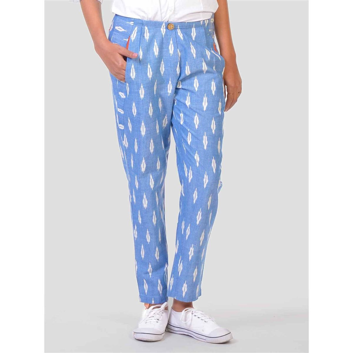 closed women light pants blue inc jack fashion