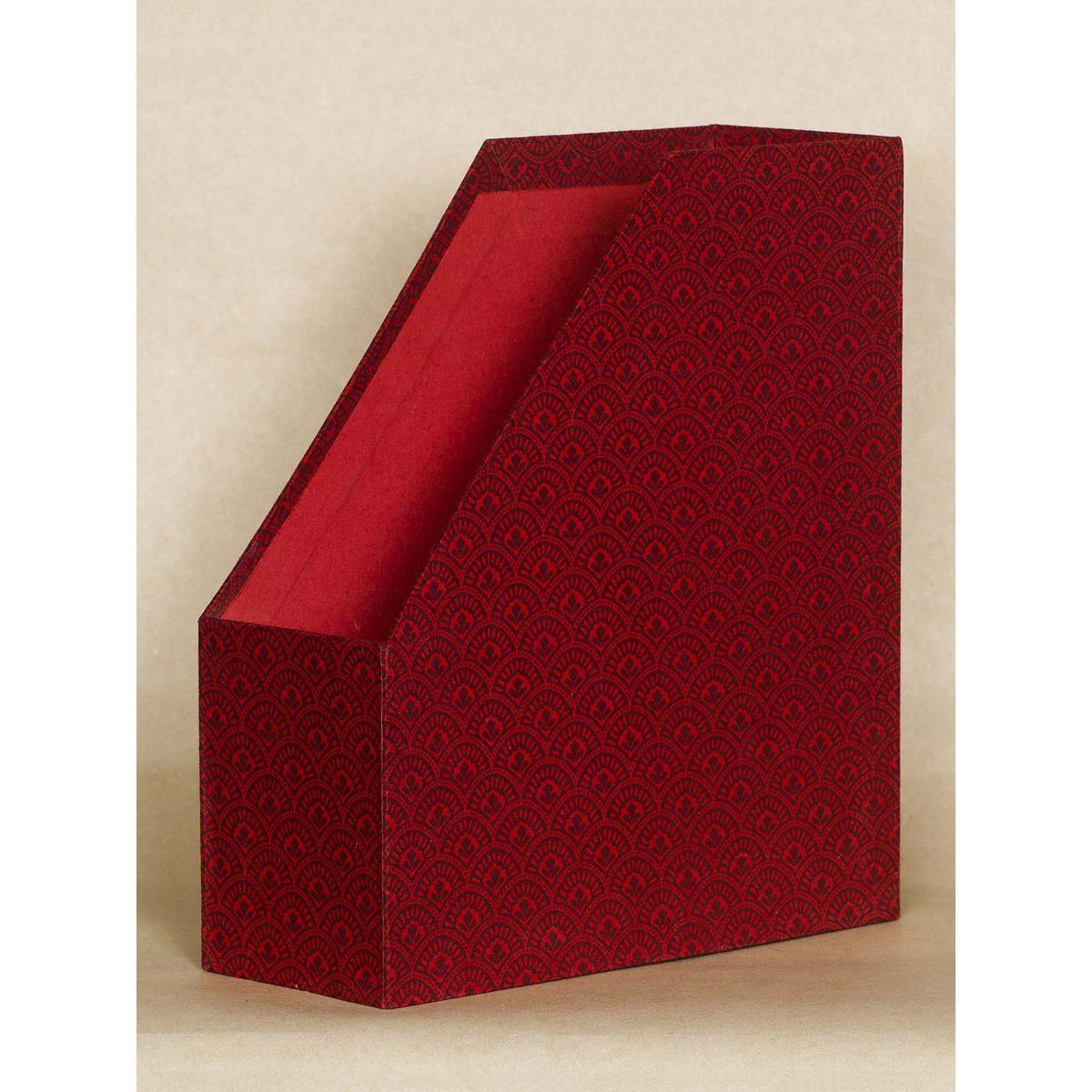 Red Block Print Fabric Magazine Holder