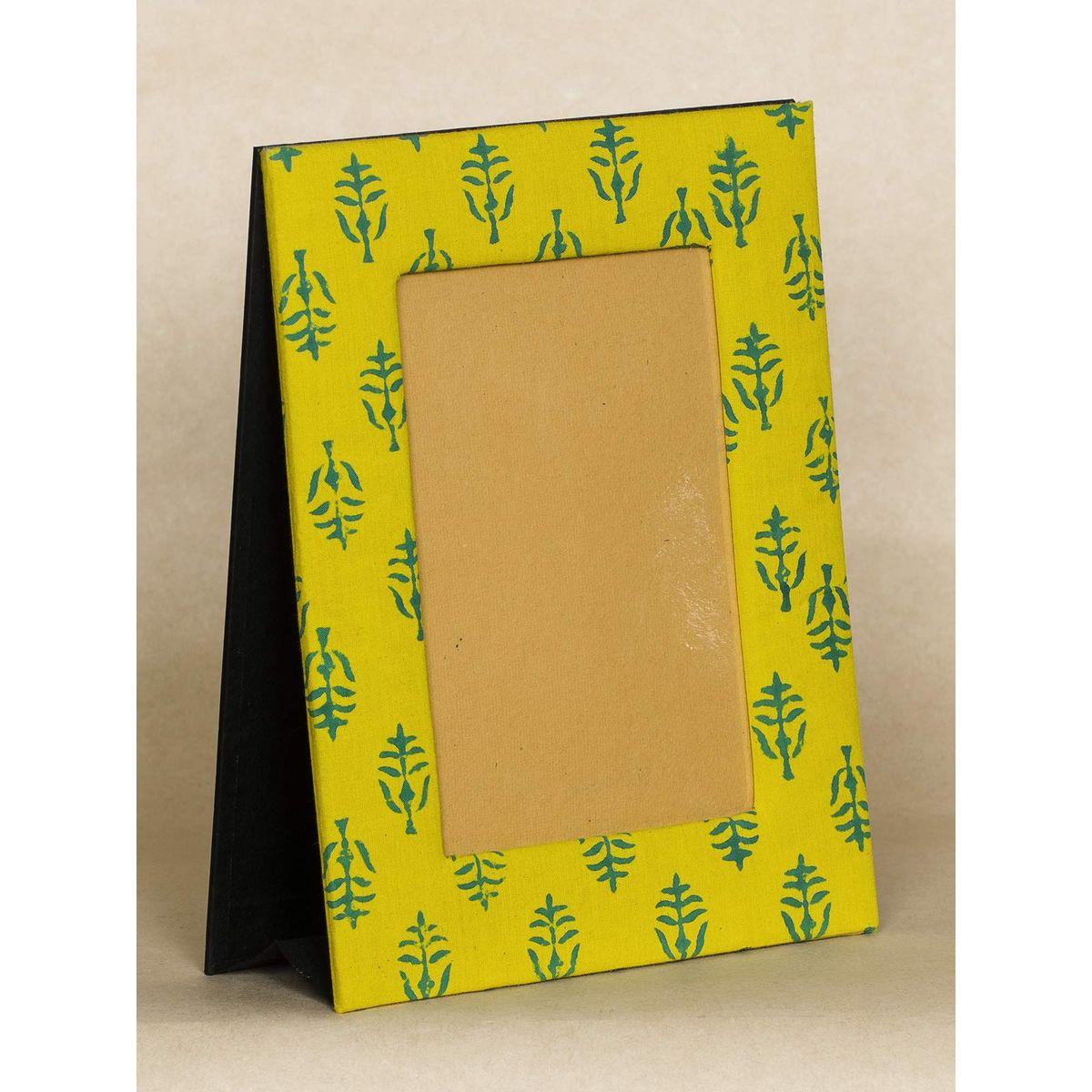 Yellow Block Print Fabric Photo Frame