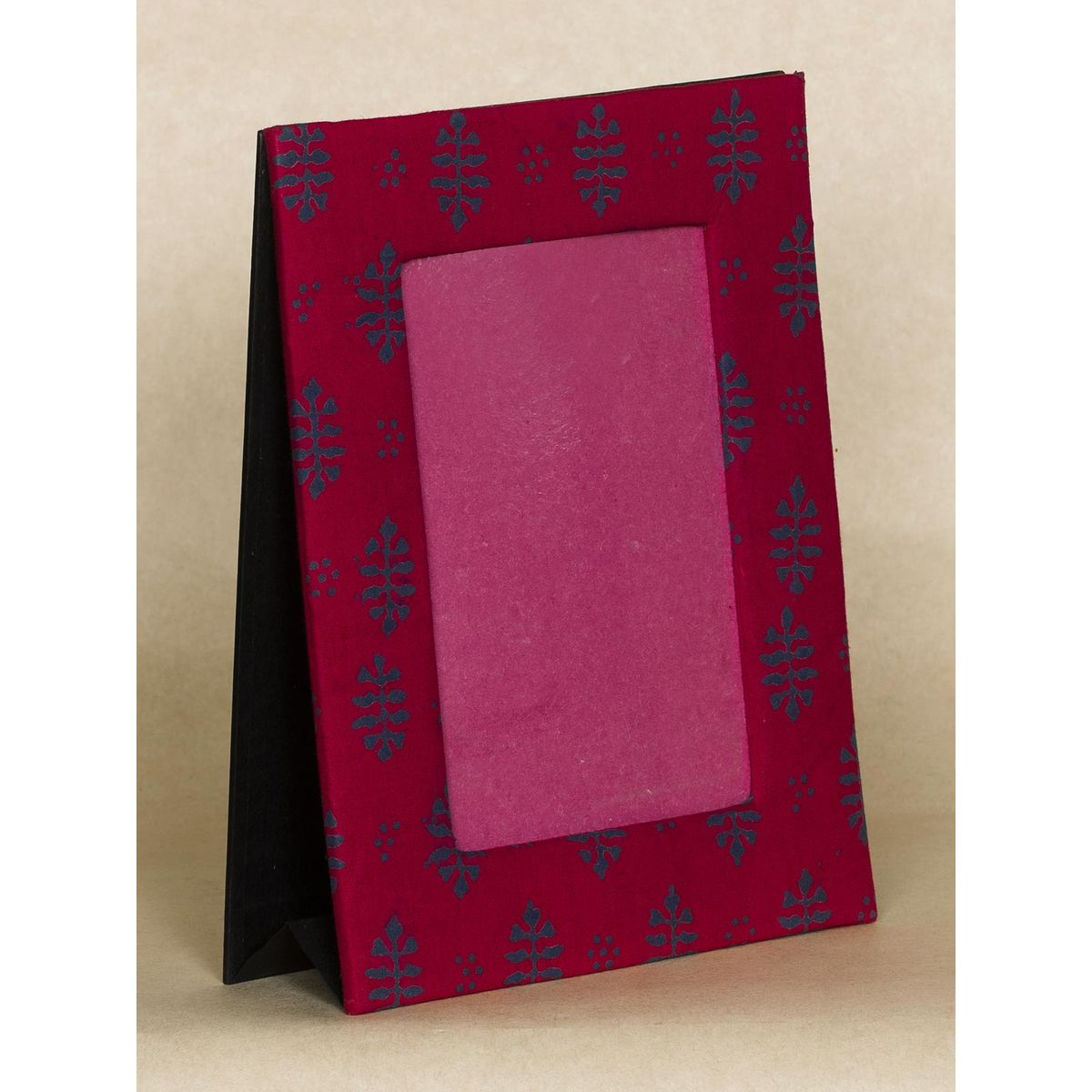 Red and Blue  Block Print Fabric Photo Frame