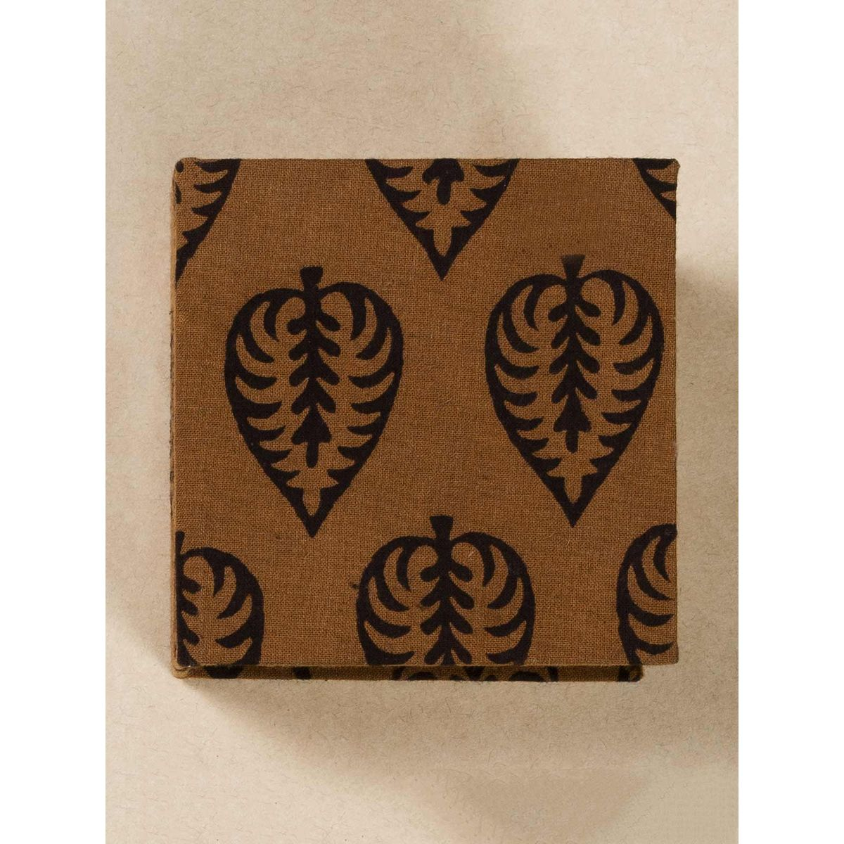 Coffee Block Print Fabric Memo Box