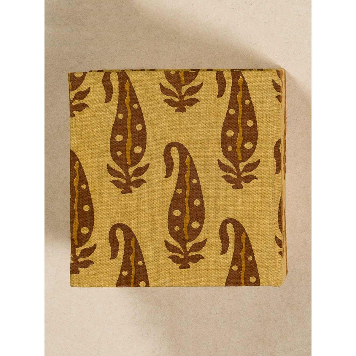 Mustard Block Print Fabric Memo Box
