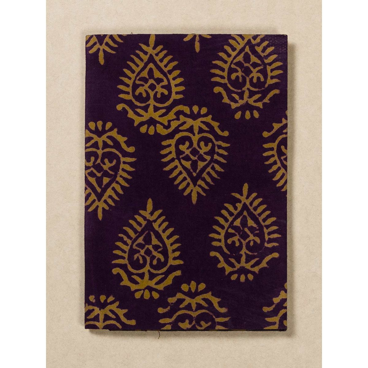 Wine and Yellow Block Print Fabric Passport Holder