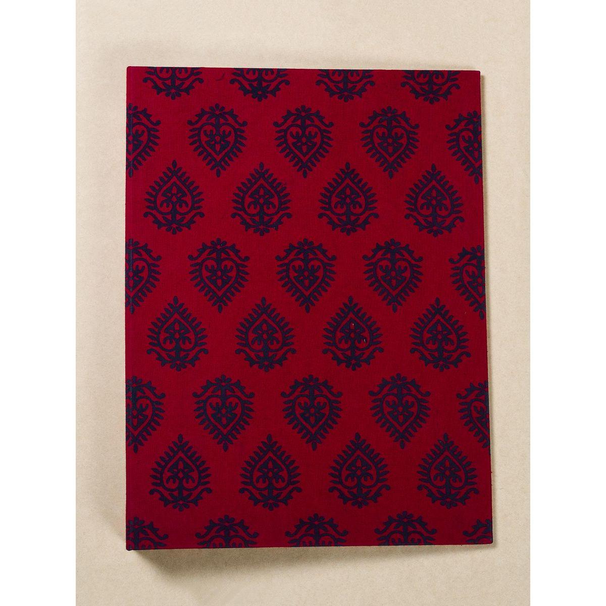 Red Block Print Fabric Ring File