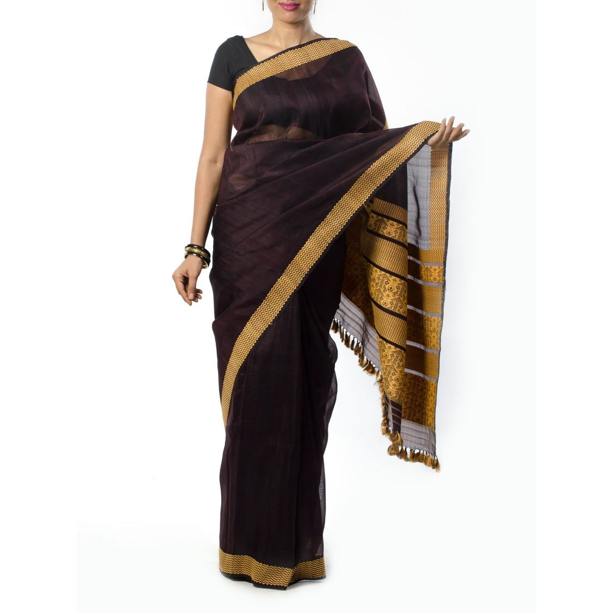Brown Muga Silk saree