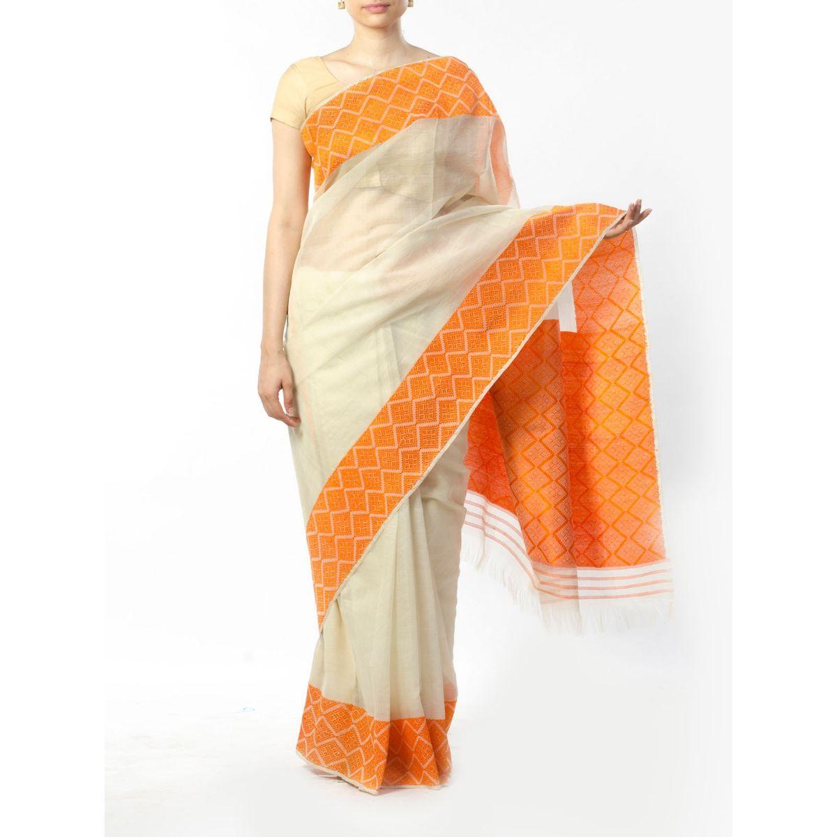 Off-White Muga Silk Saree with Orange Border