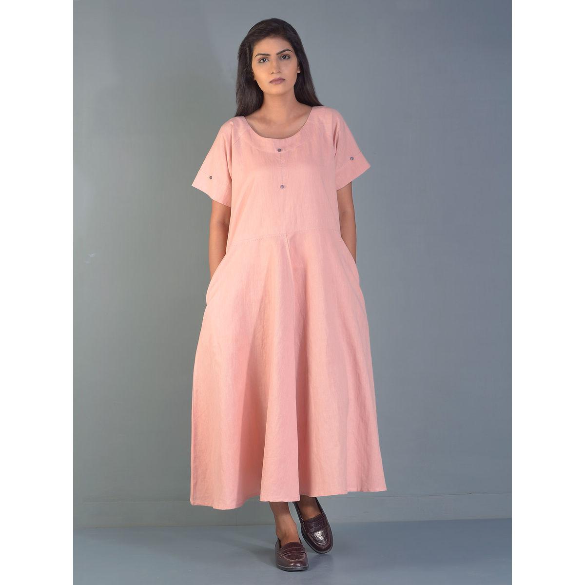 0db41d9940a Pink Circular Linen Maxi Dress