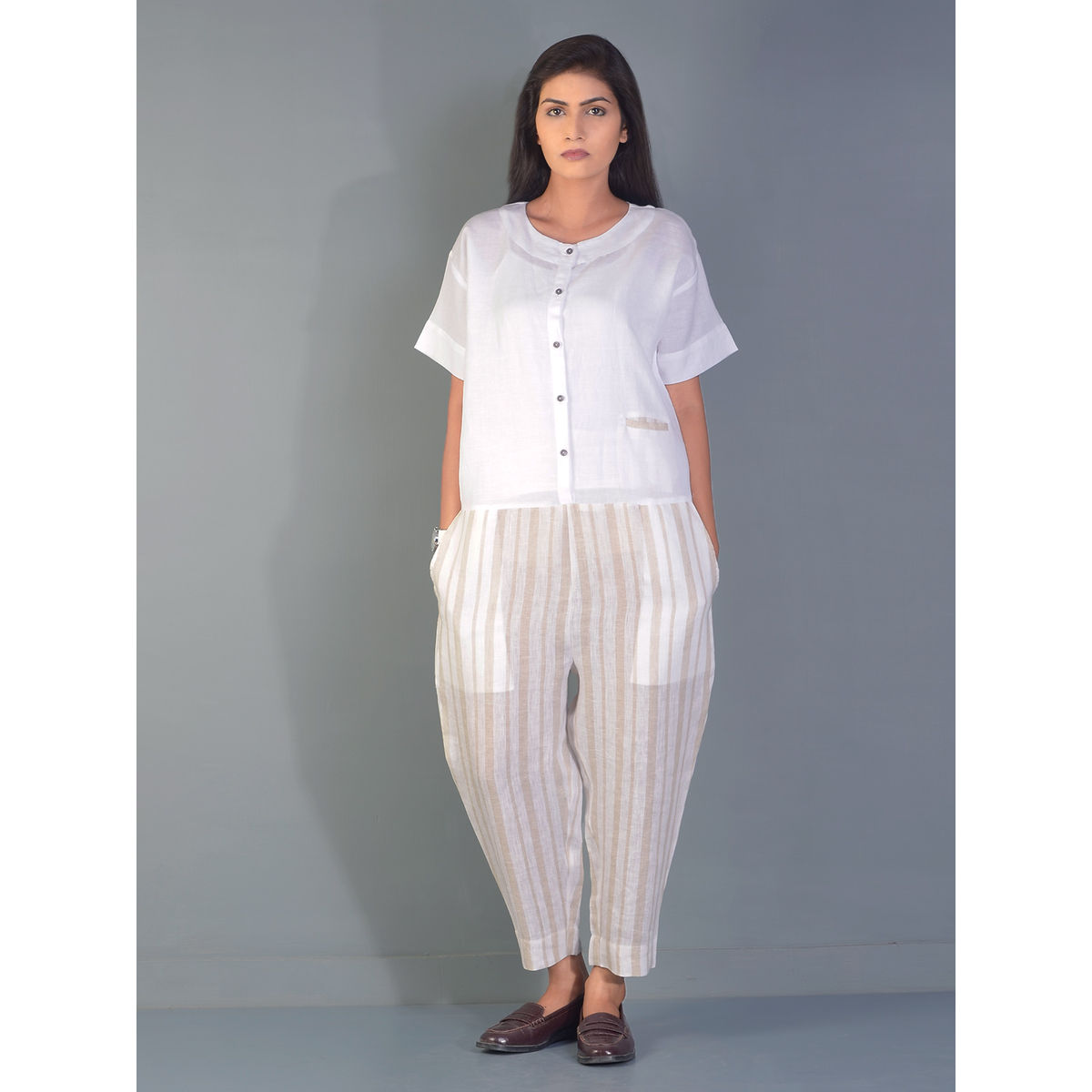 White Striped Gondola Linen Jump Suit