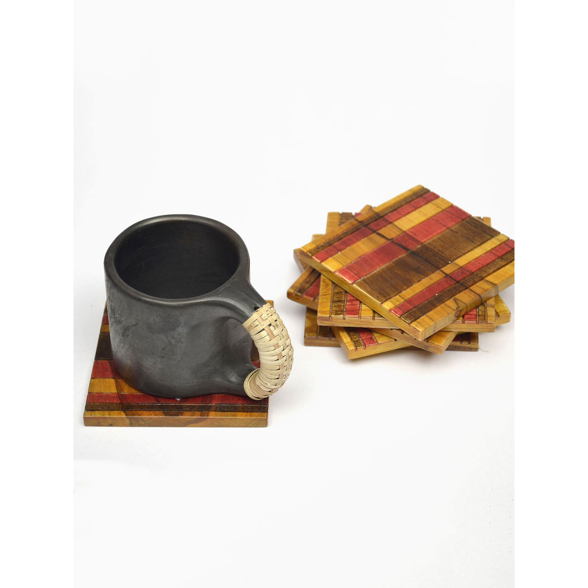 Red Yellow Wooden Coaster- Set of 6