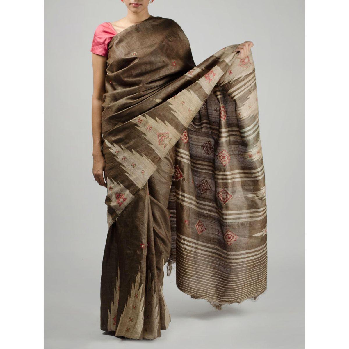 Brown Tussar Silk Saree