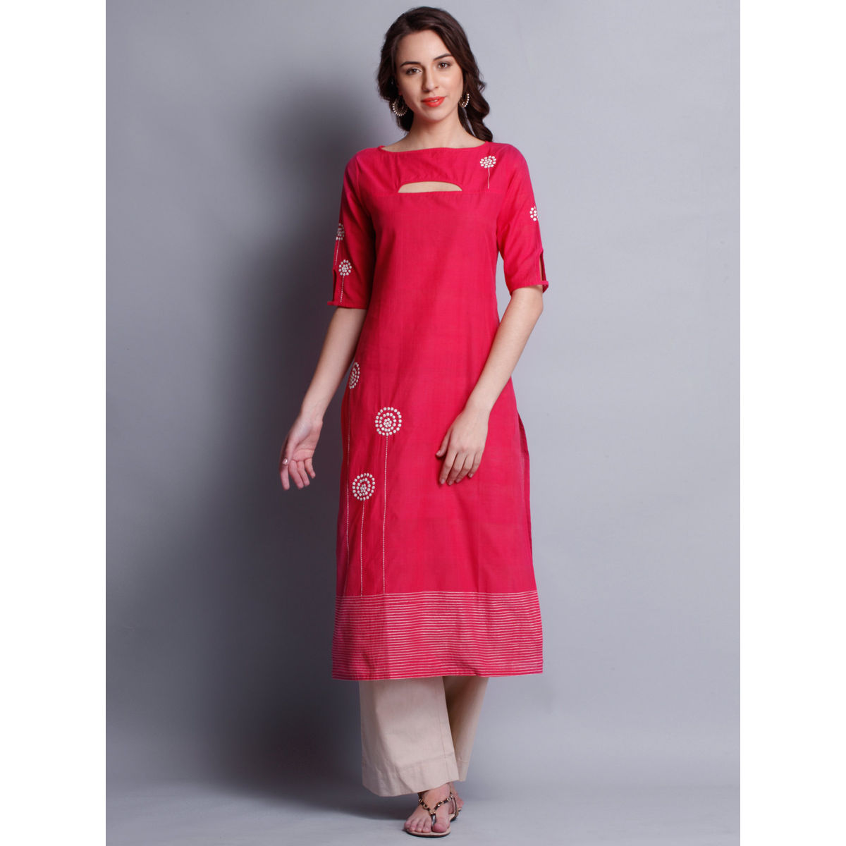 Women Kurtis Patti Work Embroidered Pink Long Kurta