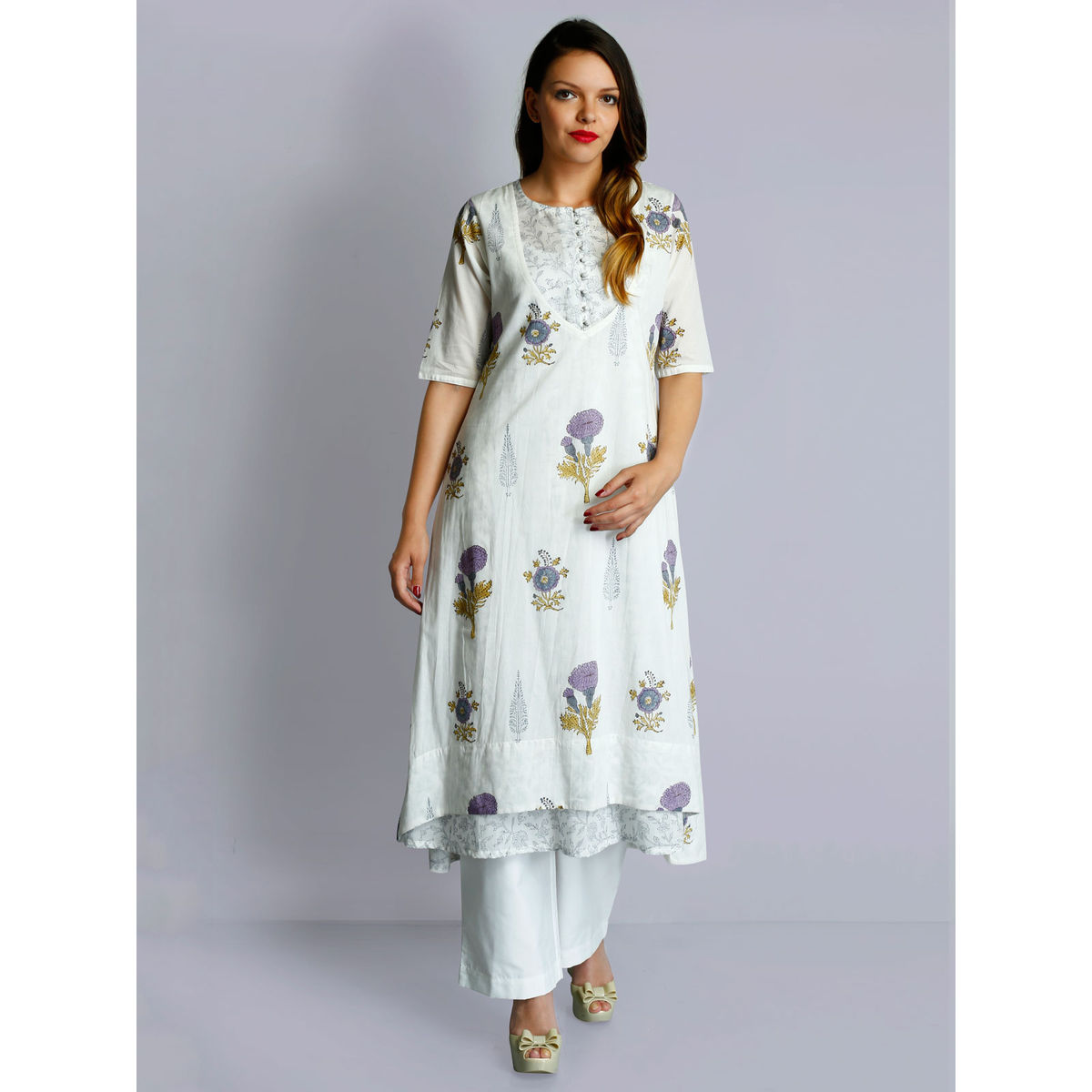 White cotton voile floral beige hand block prints layered tunic