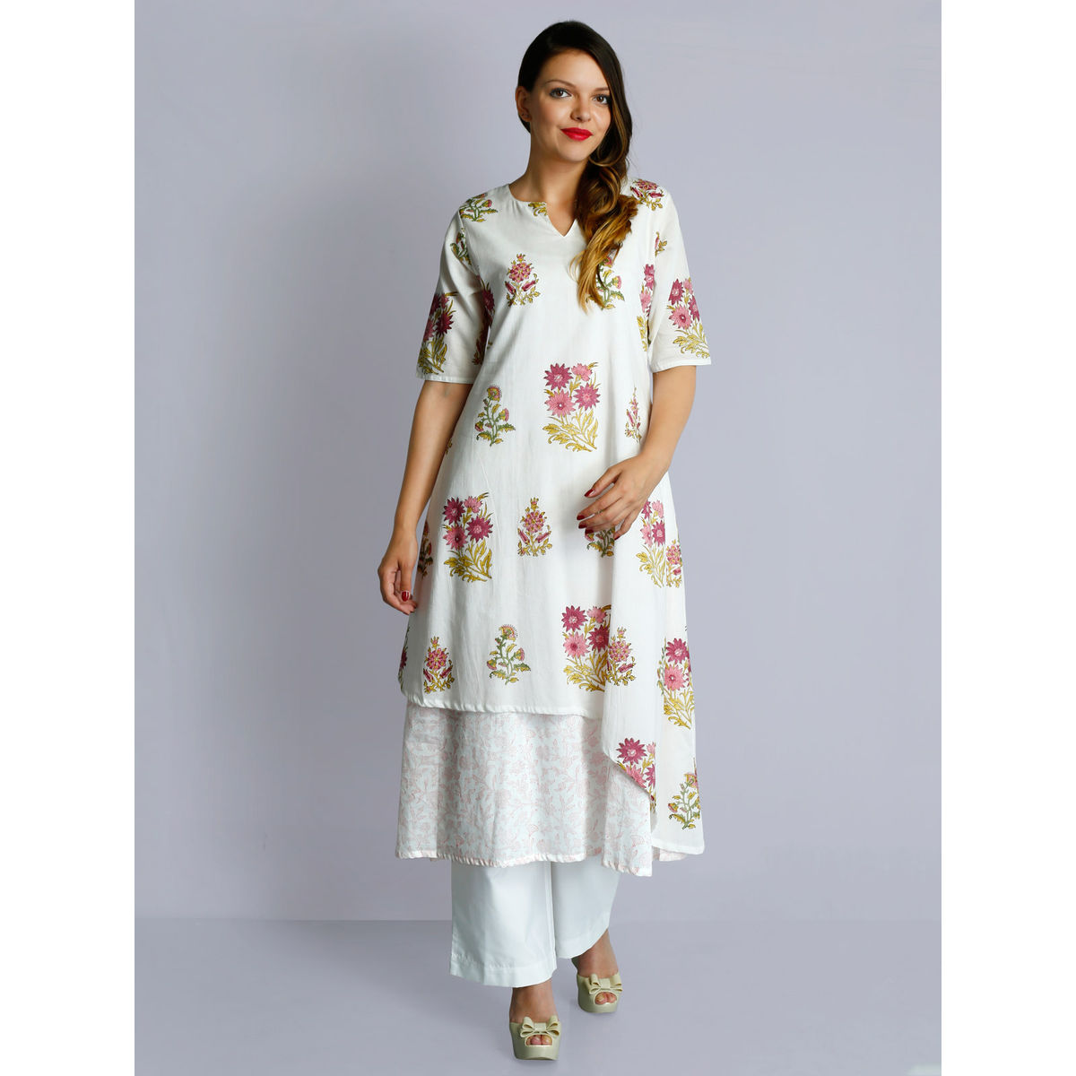 White cotton voile v neck hand block printed layered tunic