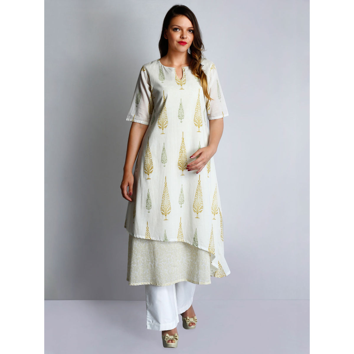 Off-white cotton voile hand block printed layered tunic