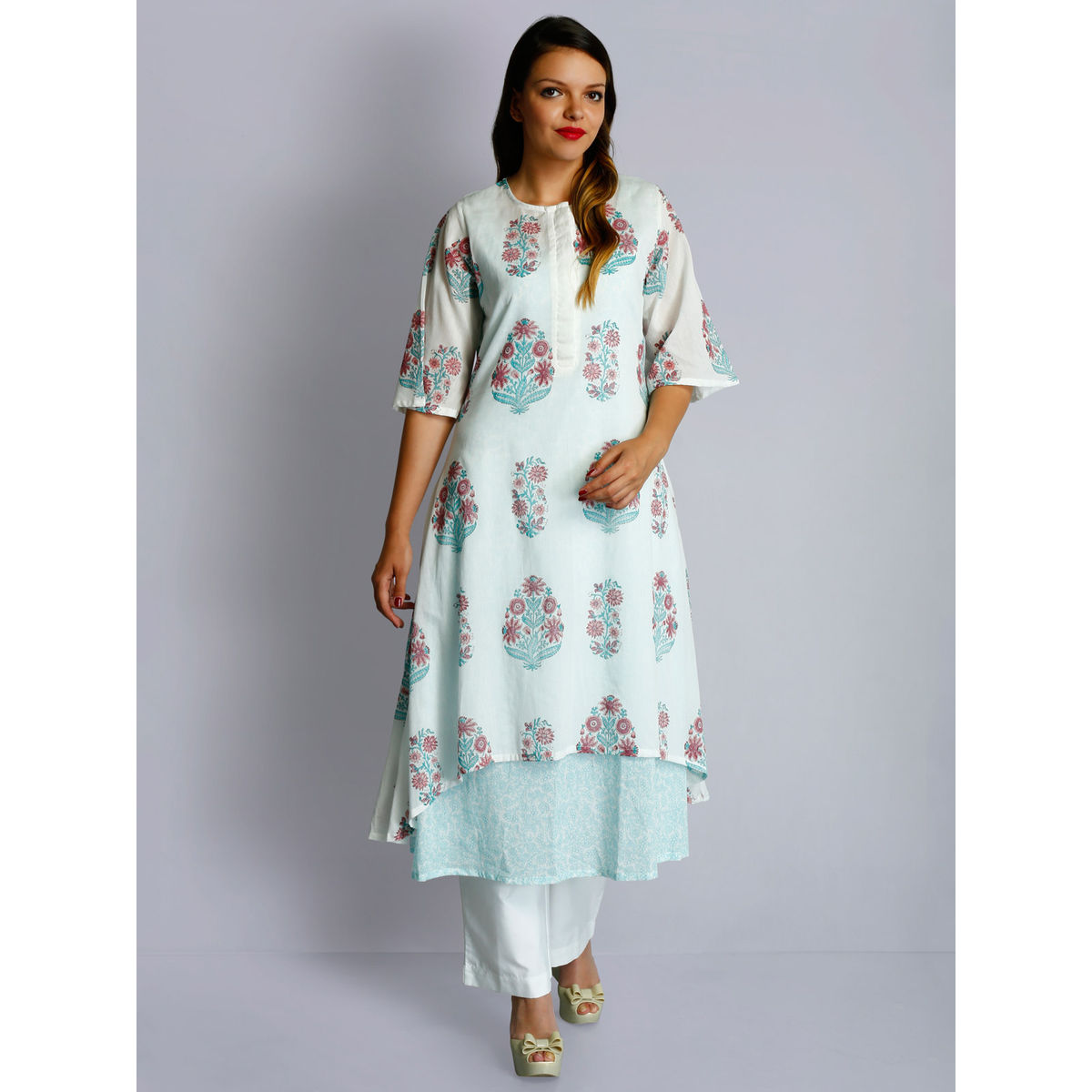 White cotton voile round neck blue-pink hand block printed layered tunic