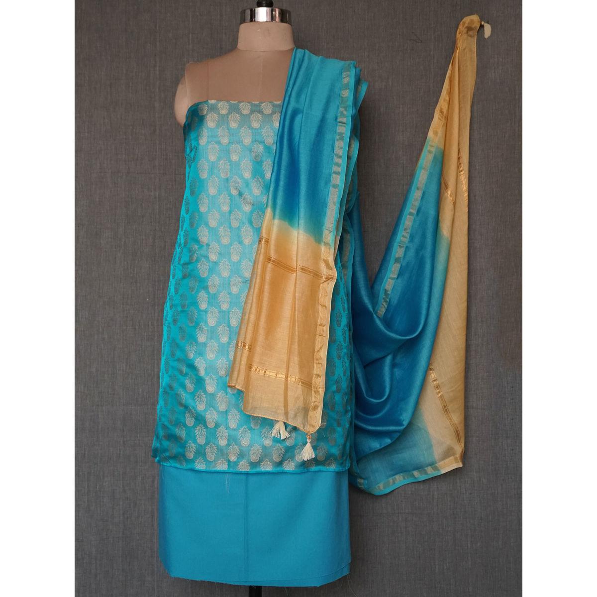 0c92599322 Buy Blue beige tanchoi silk dress material with chanderi dupatta