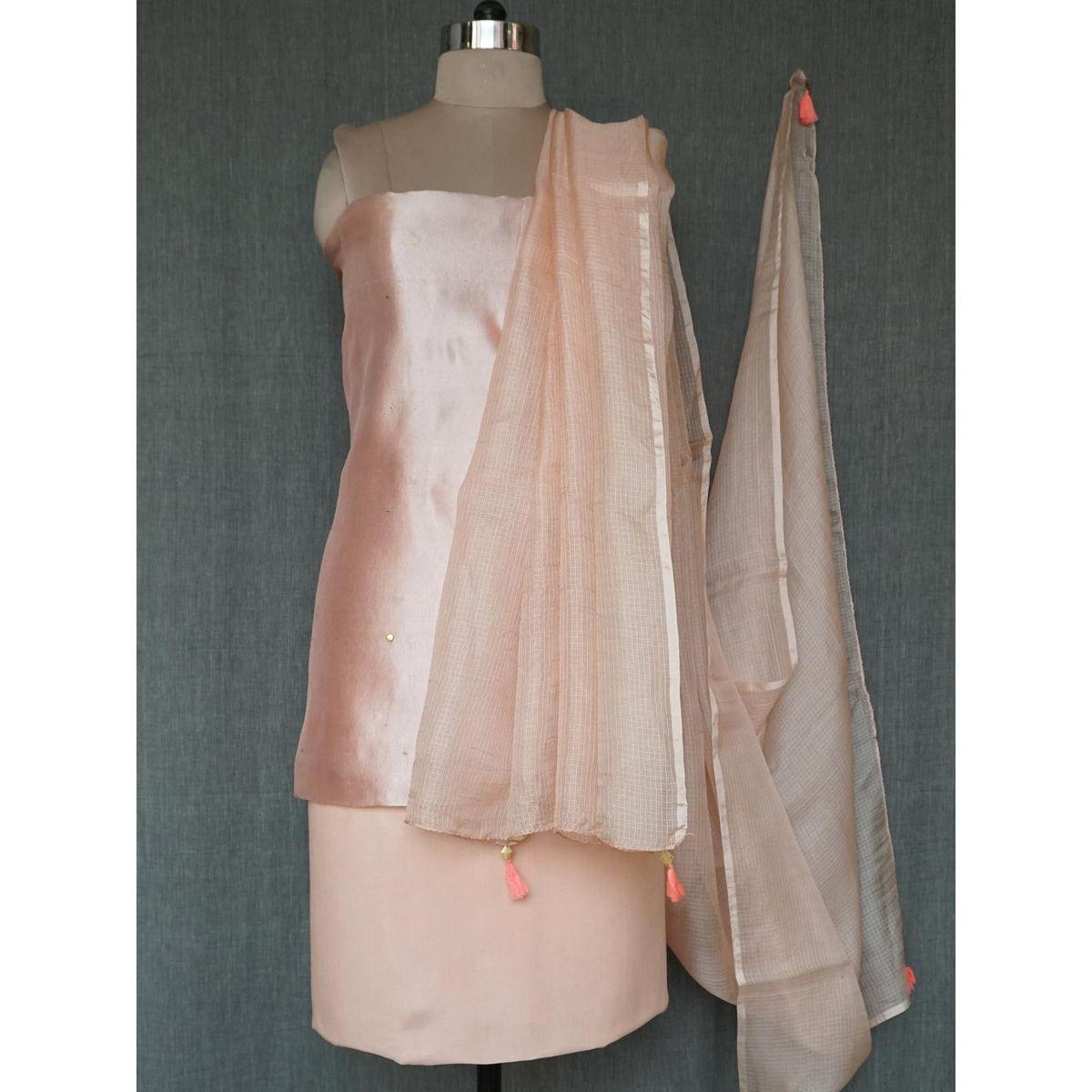 Cream silk dress material with dupatta