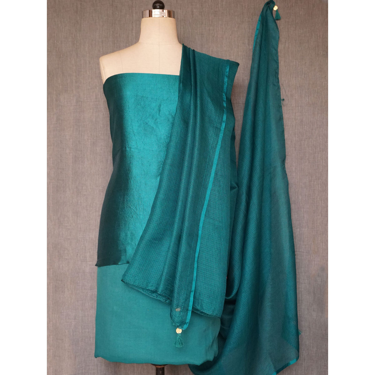 Teal silk dress material with hand badla & mukesh work with kota silk dupatta