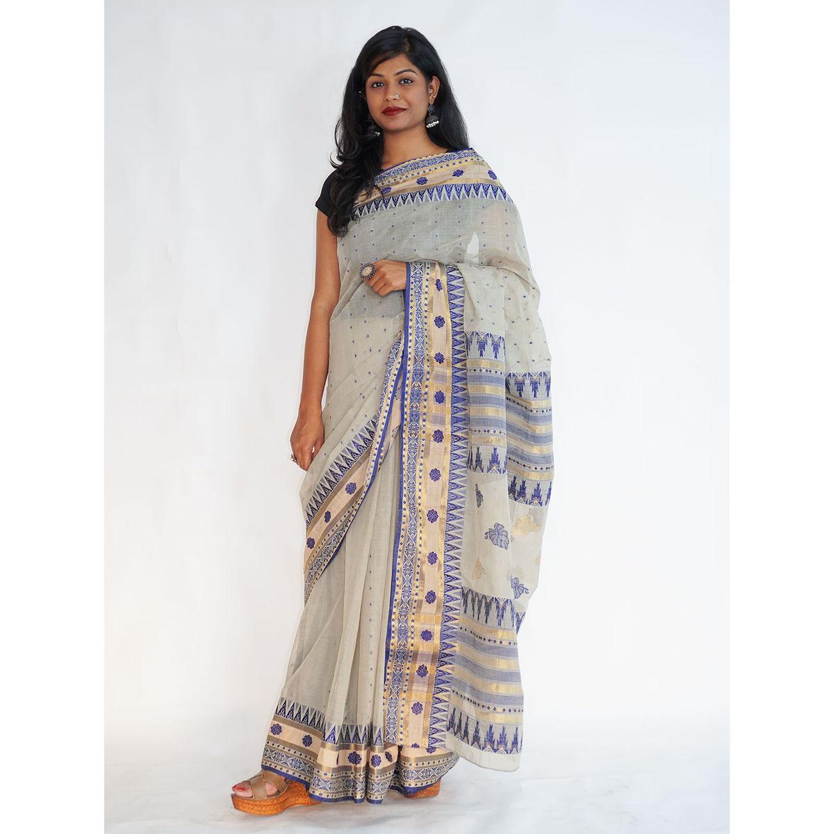 7bbabe1cd4528 Buy Light Green Handloom Cotton Saree Online - eIndianAugust