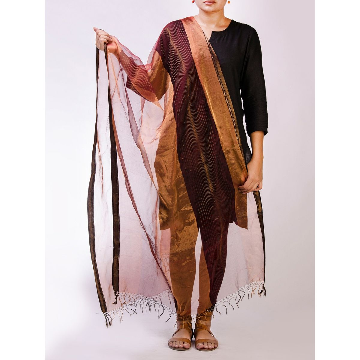 Maroon Cotton Maheshwari Dupatta