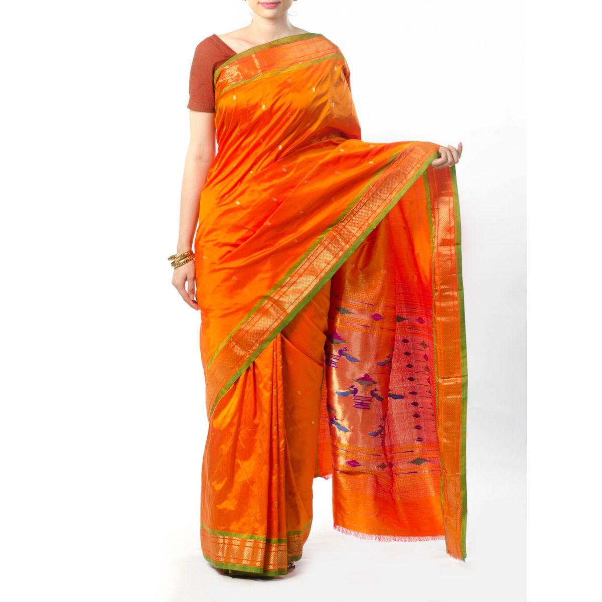Orange Paithani Silk saree