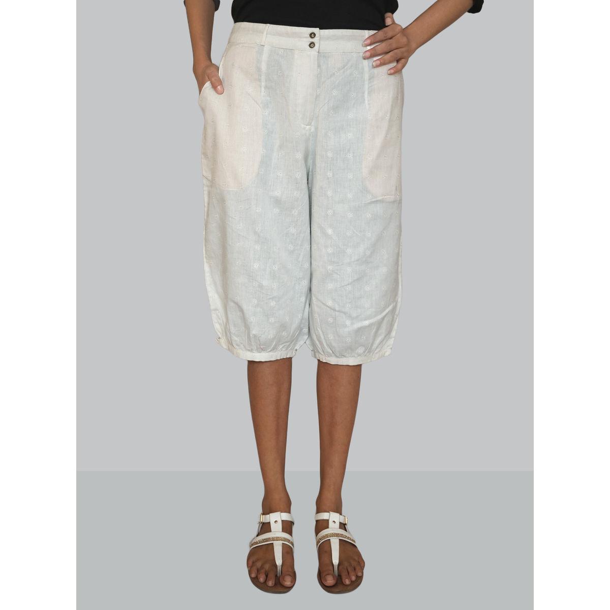 White solid linen short-bottom