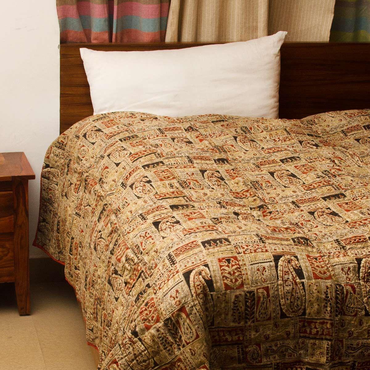 Multi-Color Kalamkari  Cotton Handstitched Quilt - For Single Bed